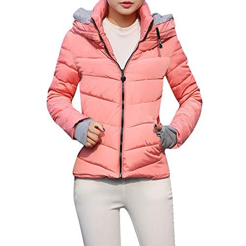 Chaofanjiancai Clearance Womens Solid Hooded Warm Winter Cotton-Padded Short Slim Jackets Coats