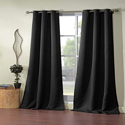 Blackout365 - Home Fashion Solid Faux Silk Blackout Room Darkening Grommet Top Window Curtains Pair Panel Drapes for Bedroom, Living Room - Set of 2 Panels - 38 X 84 Inch - Black ()