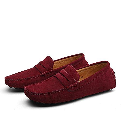Shenn Hombres Minimalismo Casual Zapatos de Conducción Gamuza Mocasines de Cuero 2088 Borgoña