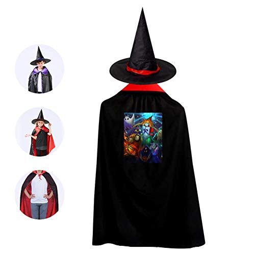 Tnilsk Kids Magical Halloween Party Carnival Halloween Cloak with Hat Reversible Witch Christmas Party Robe Cosplay Costume]()