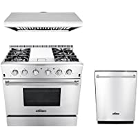 Thor Kitchen 3-Piece Kitchen Package with HRG3617U 36 Professional 4 Burners Gas Range with Griddle and HDW2401SS 24 Dishwasher Stainless Steel