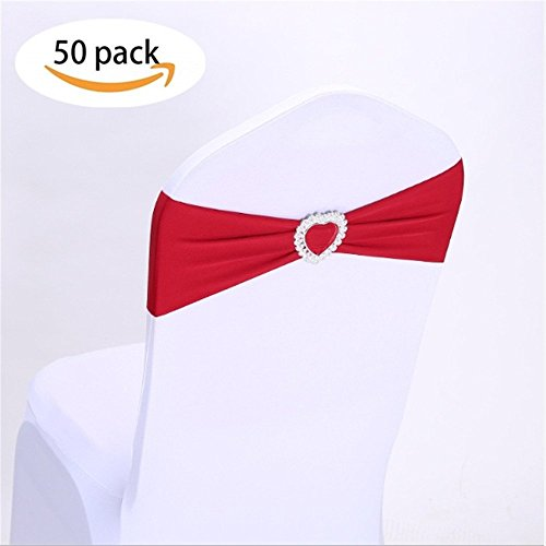 - Laceso Pack of 50 Wedding Chair Bow Sashes Elastic Chair Band with Heart Shape Buckle Slider Chair Backs Decorations for Reception Banquet (Red)