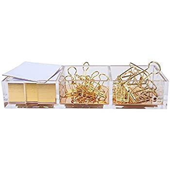 Clarity Gold Notes Holder with Cube Memo Pad 320 Sheets, Acrylic 3 in 1 Drawer Organizer by Draymond Story (Clips Not Include) - Gold Stationery Series