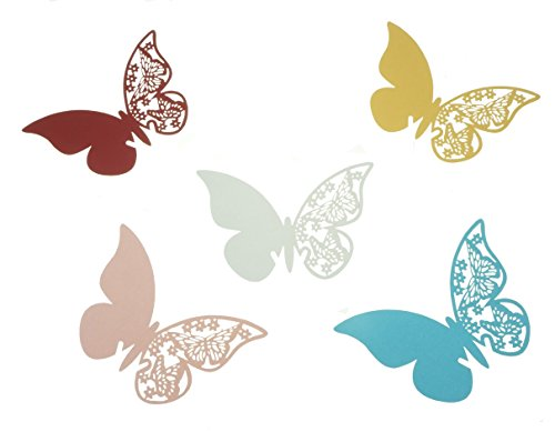 Bilipala 50 Counts Butterfly Place Cards Wine Glass Card Wedding Table Decoration