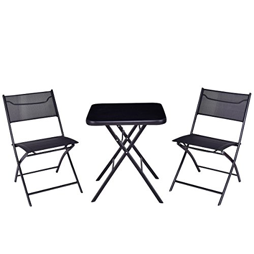 Giantex 3PC Bistro Set Folding Square Table and Chair Set Outdoor Furniture Backyard Square Table