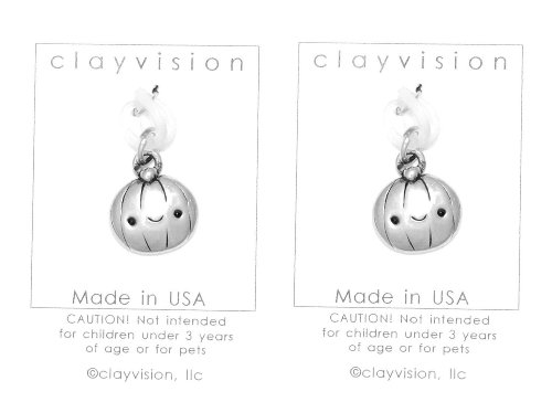 (2) Clayvision Happy Pumpkin Halloween Charms for Rubber