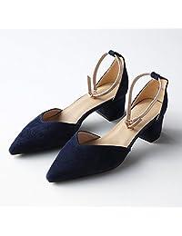 66da446d89a QIDI Sandalias Caucho Mujer Temporada De Verano Negro Azul Blanco Talón  Medio Zapatos Individuales (Color