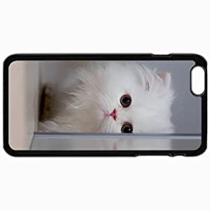 Customized Case Back For Iphone 6 Plus 5.5 Inch Hard Cover Personalized Cute White Cat Design Black WANGJING JINDA