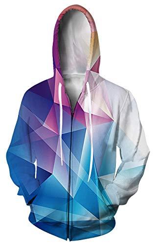 UNIFACO Women Mens Geometric Pullover Hooded Sweatshirt Zip Up Hoodie Jacket with Pockets L