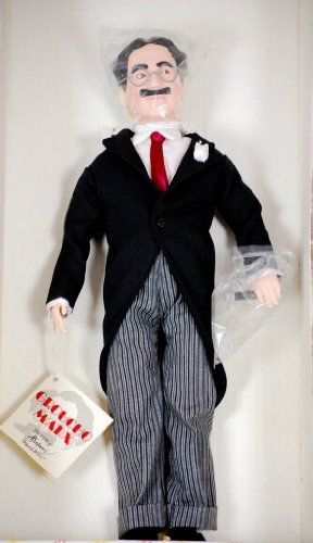 (1983 - Effanbee Doll Company - 5th in Legend Series - Groucho Mark 17 Inch Doll - Glasses / Swallow Tail Coat / Cigar / Red Tie / Moustache -)