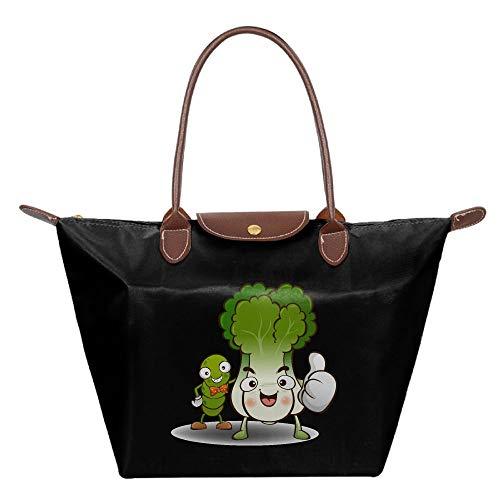 Eden Edies Cute Caterpillars and Green Vegetables Tote Bag Flexible Multifunction Shoulder Handbag with Zipper
