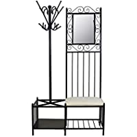 Circlelink Metal Hall Tree Black Finish Hallway Storage Bench Coat Rack Umbrella Holder