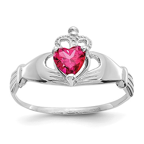 14k White Gold Cubic Zirconia Cz July Birthstone Irish Claddagh Celtic Knot Heart Band Ring Size 7.00 Fine Jewelry Gifts For Women For Her
