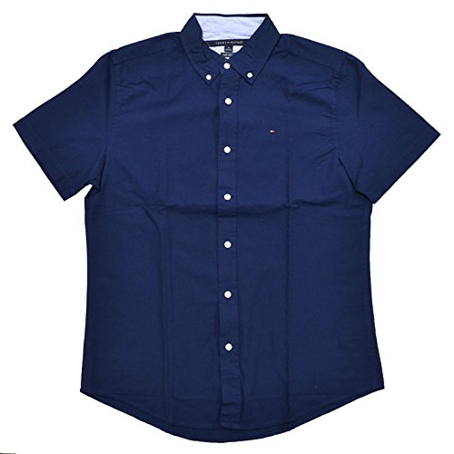 Tommy Hilfiger Mens Custom Fit Short Sleeve Buttondown Shirt (X-Large, - Hilfiger Shirt Down Button Tommy