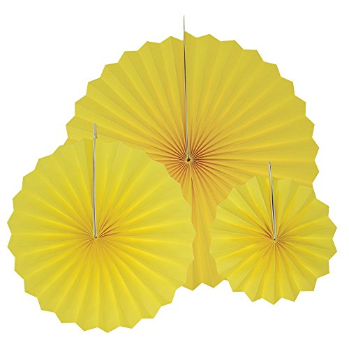 Just Artifacts 12pcs Paper Pinwheel Decorative Assorted Size Pack (Lemon - Yellow Pinwheel