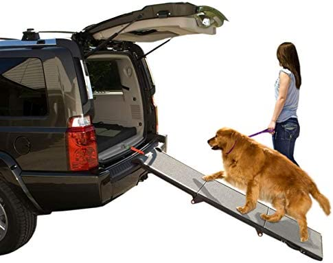 Pet Gear Tri Fold Ramp 71 Inch Long Extra Wide Portable Pet Ramp For Dogs Cats Up To 200lbs Patented Compact Easy Fold With Safety Tether Black Gray Not Carpeted Extra Wide Tri Fold