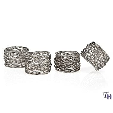 Godinger 94251 Round Mesh Napkin Ring - Set of 4,