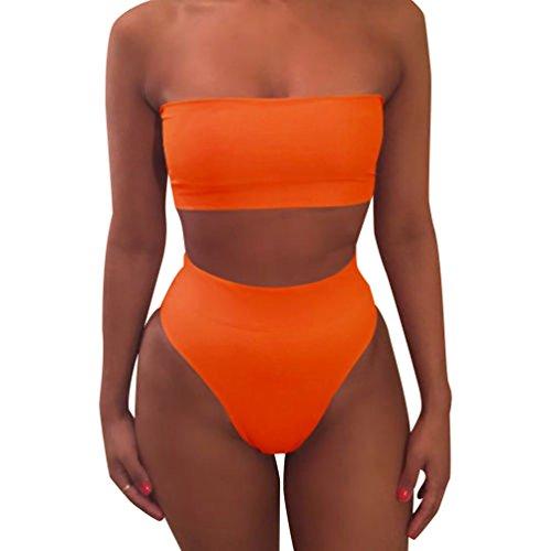 Mujeres Bikini Talle Alto Trajes de Baño Bandeau Bañadores Dos Piezas Bikinis Push Up Mujer Traje de Baño Sin Tirantes para Mujer Ropa de Baño Deportivos Biquini Señora Bañador Brasileño Naranja