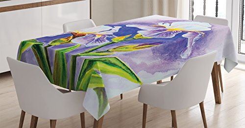 Ambesonne Watercolor Flower Decor Tablecloth, Painting of Iris Flower Elegant Spring Season Blooming Plant Nature Art, Rectangular Table Cover for Dining Room Kitchen, 60x84 Inches, Violet Green Blue