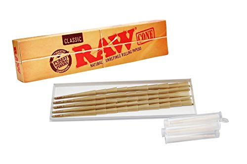 RAW Cones Classic King Size - Natural Pure Hemp Pre-Rolled Cones with Filter - RAW Rolling Papers - Smoking Accessories - 50 Count Plus 5 Pre-Roll Tube