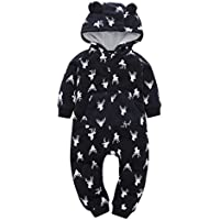 6-24 Months,FUNIC Infant Baby Boy Girl Thicker Deer Printed Hooded Romper Jumpsuit (24 Months, Black)