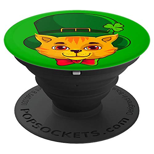 (St Patricks Day Cat Face, Irish Cats Stuff Lover Gift, Green - PopSockets Grip and Stand for Phones and Tablets)