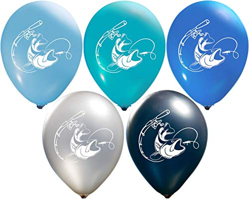(Fish Balloons | Colorful Latex Balloons (20-Count) Happy Birthday Party or Event Use | Fill with Air or Helium | Kid-Friendly (Blue)