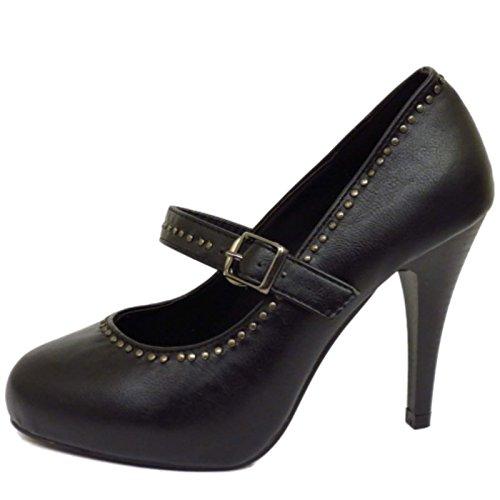 Damen Schwarzer Riemen zum Reinschlüpfen Mittelhoher Absatz Arbeit Sohle Hof Smart Schuhe UK 3-8