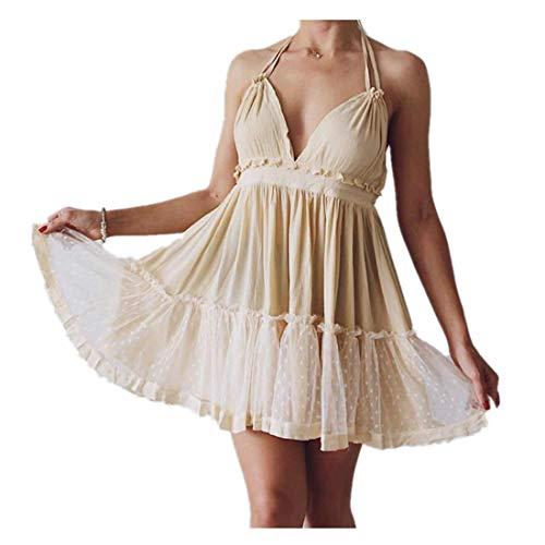 ForeMode Summer Dress 2018 Bohemian Women Mini Dress Backless Beach Dress Holiday Boho Dress (Beige2, -