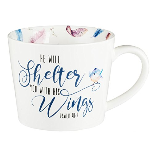 He Will Shelter You Psalm 91:4 Christian Coffee Cup for Women (13 Ounce Ceramic)