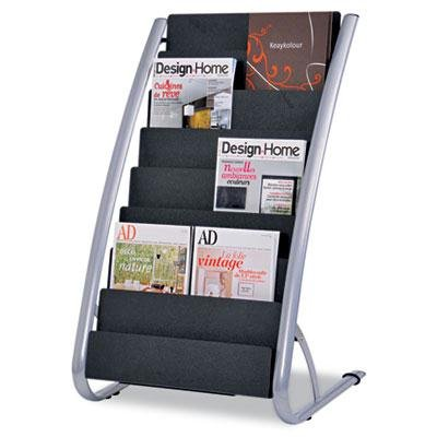 Alba - Literature Floor Display Rack Eight Pocket 22.2W X 18.4D X 36H Black/Steel ''Product Category: Office Furniture/Display Racks & Cases''