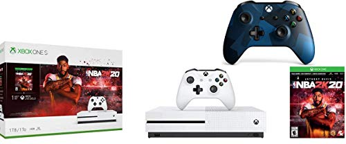 Microsoft Xbox One S 1TB NBA 2K20 Bundle + Midnight Forces II Special Edition Wireless Controller | Include:Xbox One S 1TB Console ,NBA 2K20 Full-Game, Wireless Controller