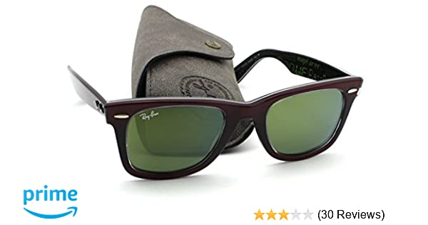 303d90ecb8 Amazon.com  Ray-Ban RB2140 12022X Wayfarer PIXEL Red Frame   Green Mirror  Lens 50mm  Clothing