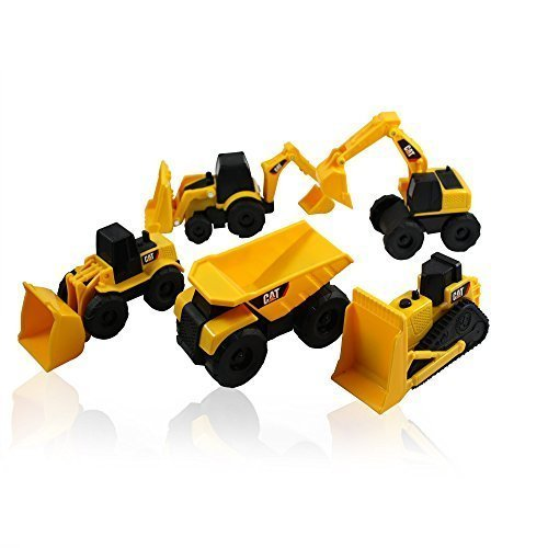 (Caterpillar CAT Mini Machine Construction Truck Toy Cars Set of 5, Dump Truck, Bulldozer, Wheel Loader, Excavator and Backhoe Free-Wheeling Vehicles w/Moving Parts -Great Cake Toppers)