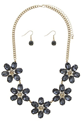 Foxtail Cluster (TRENDY FASHION JEWELRY FLORAL CRYSTAL CLUSTER NECKLACE SET BY FASHION DESTINATION | (Black Diamond))