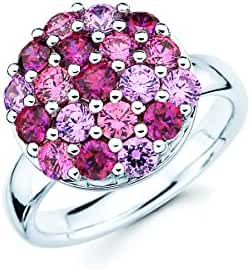 Lotopia Round Cluster Ring in Sterling Silver with Pink & Red Swarovski Zirconia
