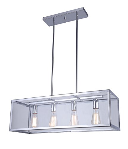 "CANARM ICH530A04CH30 Langley 4-Light Rod Chandelier - 4 Light rod chandelier Chrome with clear glass, two 6"" and three 12"" rods 4 Vintage filament bulbs, 100 Watt, Type A - kitchen-dining-room-decor, kitchen-dining-room, chandeliers-lighting - 41PDeyzHVSL -"