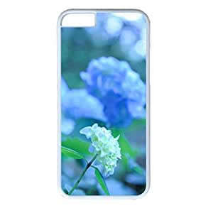 Beautiful Flower Design Slim Clear PC White Case for Iphone 6 - Blue Flowers