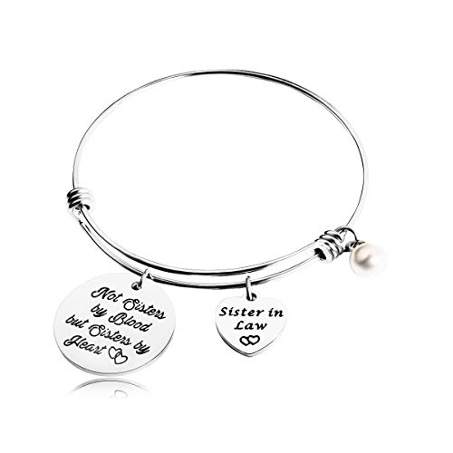 REEBOOO Sister in Law Gift,Wedding Gift for Sister of The Groom,When I Married Your Brother I Gained A Sister Charm Bangle Bracelet (Sister in Law Bracelet) by REEBOOO