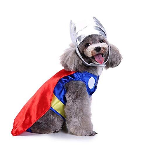 KINGSWELL Halloween Universe Thor Pet Costume Funny Pet Cosplay Cold Weather Coats Clothes Autumn Jacket -
