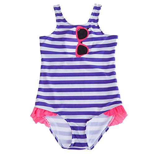 CharmLeaks Little Big Girls one Piece Swimsuit Striped Swimwear Ruffle Bathing (Ruffle Swim Dress)