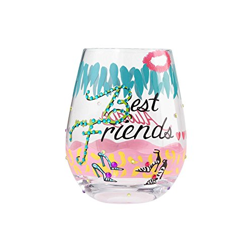 Enesco Lolita Stemless Wine Glass Best Friends, Artisan-Blown Glass with Hand-Painted Design