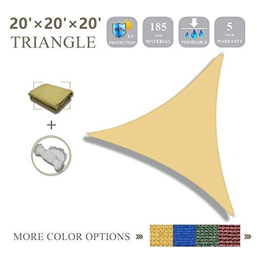 (20'x20'x20'Sun Shade Sail Triangle Sail Shade Canopy for Patio Garden Outdoor Facility and)
