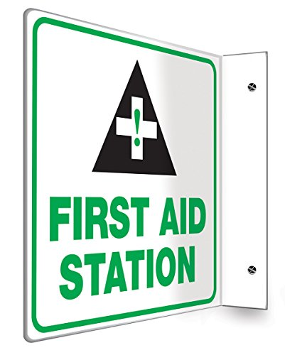 First Aid Station Sign (Accuform Signs PSP723 Projection Sign 90D, Legend FIRST AID STATION, 8