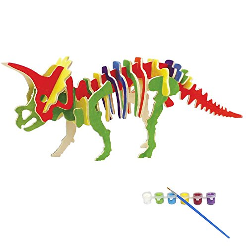Bfun Woodcraft 3D Puzzle Assemble and Paint DIY Toy Kit, Triceratops Free 3d Dinosaur Models