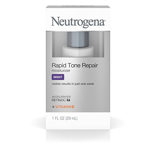 Neutrogena Rapid Tone Repair Night Moisturizer with Retinol, Vitamin C and Hyaluronic Acid Targets Dark Spots and Brightens Skin Tone, 1 fl. oz