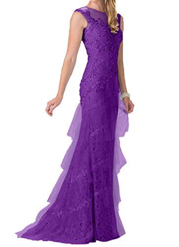 Promkleider Spitze Lang Blau Charmant Damen Abschlussballkleider Lila Etuikleider Romantisch Himmel Abendkleider CqC1Uwx60