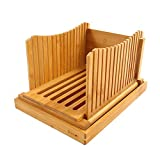 Purenjoy Bamboo Wood Foldable Bread Slicer Compact
