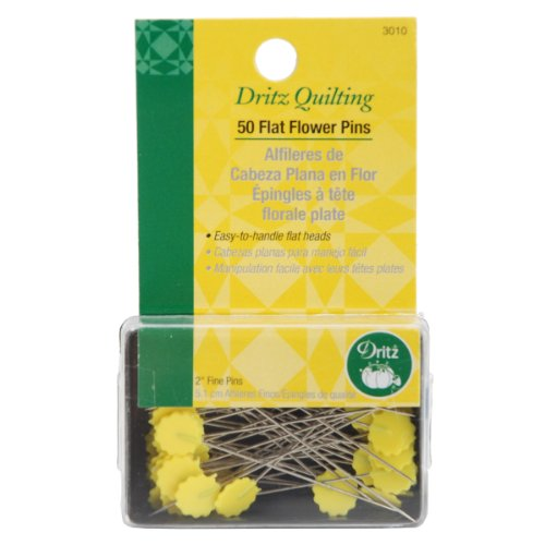 Dritz 3010 Flat Flower Pins, 2-Inch - Yellow Quilting Pins