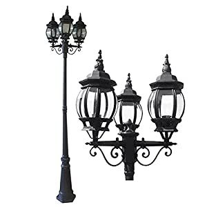 eTopLighting La puissance Collection Oil Rubbed Black Finish Outdoor Post Pillar Lantern Light w/ Beveled Glass APL1132